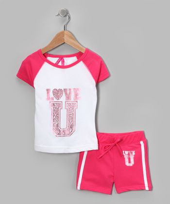 Hot Pink 'Love U' Tee & Shorts - Girls