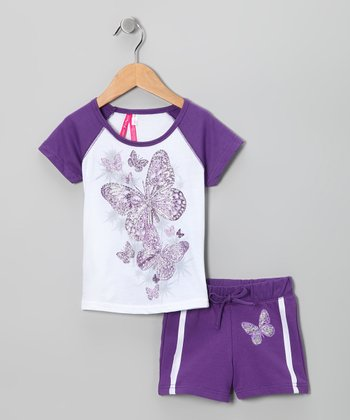 Purple Butterfly Tee & Shorts - Girls