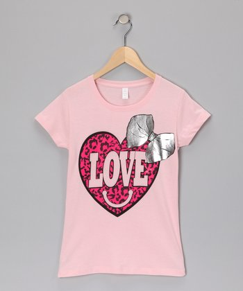 Pink 'Love' Heart Tee - Girls