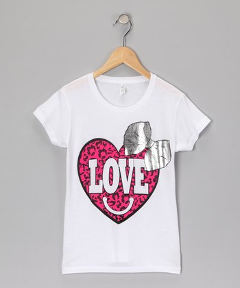 White 'Love' Heart Tee