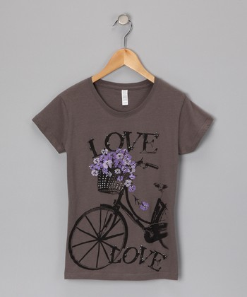 Gray 'Love' Bicycle Tee