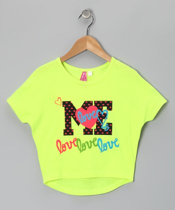 Neon Yellow 'Me' Heart Dolman Tee