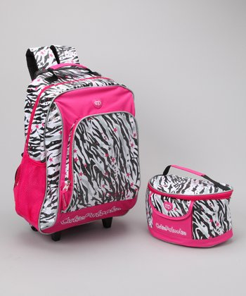 Hot Pink Zebra Wheeled Backpack & Lunch Bag