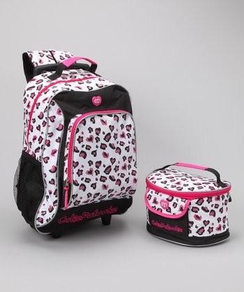 Hot Pink Leopard Wheeled Backpack & Lunch Bag