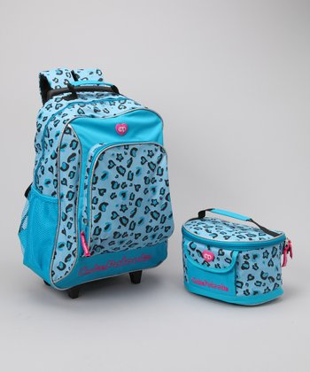 Turquoise Leopard Wheeled Backpack & Lunch Bag