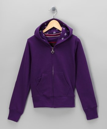 Purple Fleece Zip-Up Hoodie - Girls