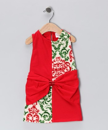 Red & Green Bow Shift Dress - Infant