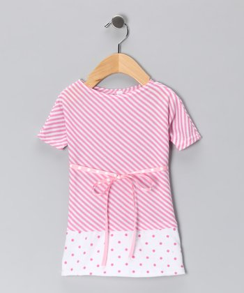 Pink Polka Dot Drop-Waist Dress - Infant