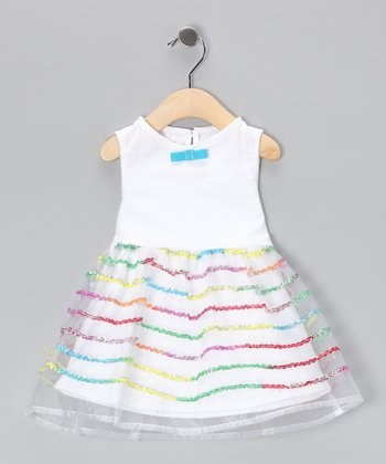 White Rainbow Sparkle & Stripe Dress - Infant