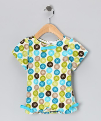 Aqua & Green Circle Bow Bodysuit - Infant & Toddler