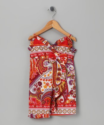 Red Paisley Bow Dress - Infant