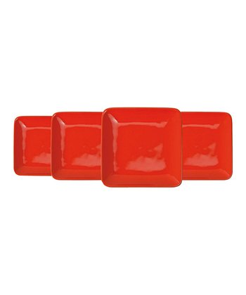 Orange Appetizer Plate - Set of Four