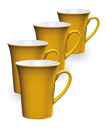 Yellow Ceramic Mug - Set of Four