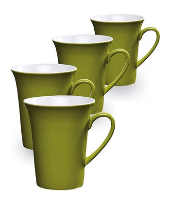 Green Ceramic Mug - Set of Four