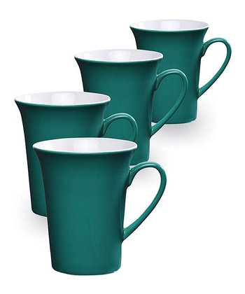 Teal Ceramic Mug - Set of Four