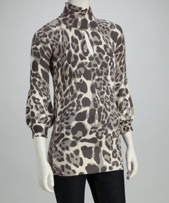 Cyrus Cheetah Silk-Cashmere Blend Sweater