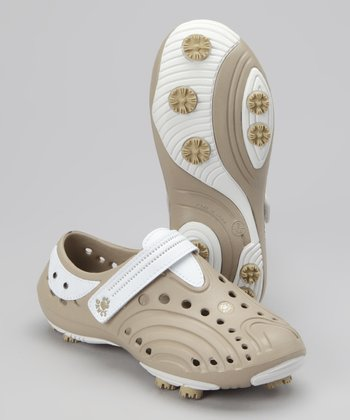 Tan & White Spirit Golf Shoe - Girls