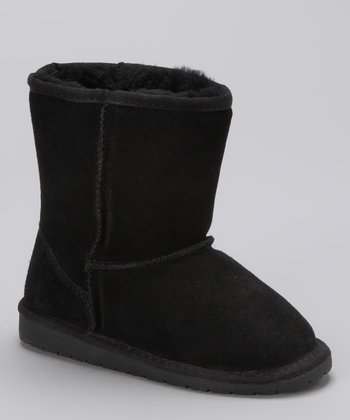 Black Shearling Suede Boot - Kids