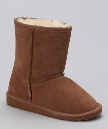 Chestnut Shearling Suede Boot - Kids