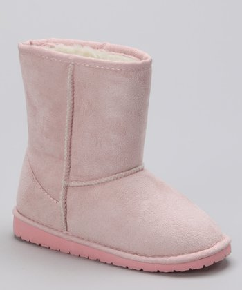 Pink Shearling Suede Boot - Kids