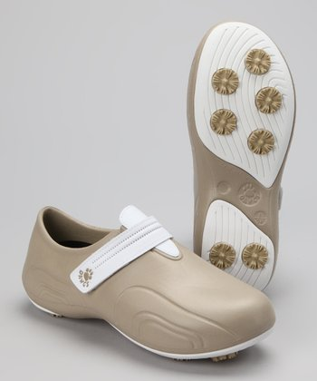 Tan & White Ultralite Golf Shoe