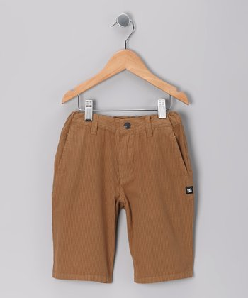 Mustard Stripe Rambler Shorts - Boys