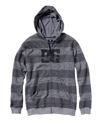 Light Gray Stripe Rebel Zip-Up Hoodie - Toddler