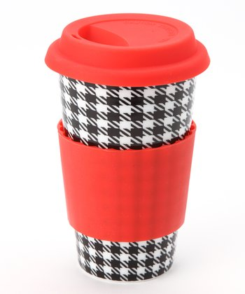 Red & Black Houndstooth Eco Cup