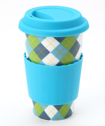 Blue & Green Argyle Classic Pattern Eco Cup