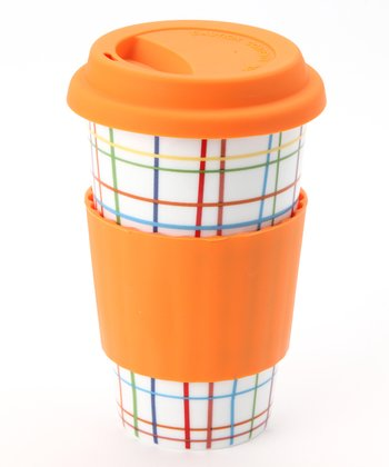 Orange Crosshatch Classic Pattern Eco Cup