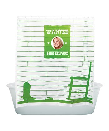 Green 'Wanted' Shower Curtain