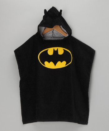Black Batman Terry Hooded Poncho - Kids