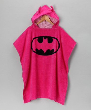 Pink Batgirl Terry Hooded Poncho - Girls