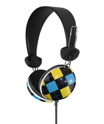 Blue & Yellow Argyle Stereo Headphones