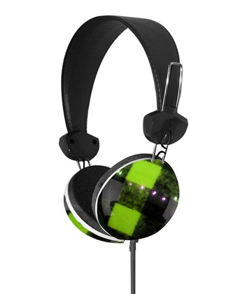 Green & Black Plaid Stereo Headphones