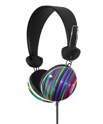 Blue & Green Stripe Stereo Headphones