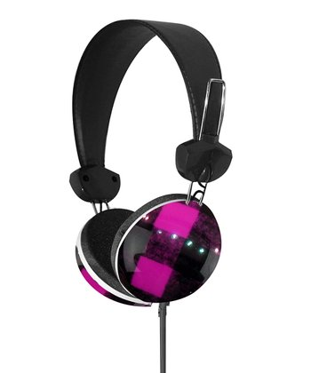 Fuchsia & Black Plaid Stereo Headphones