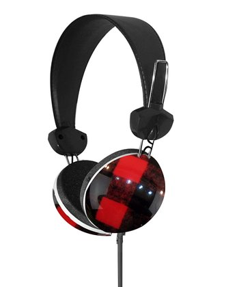Red & Black Plaid Stereo Headphones