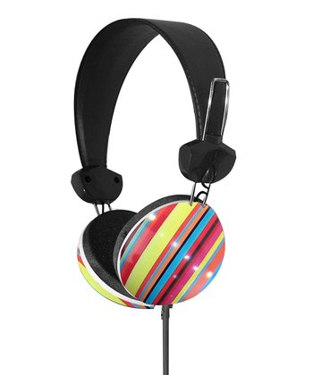 Blue & Yellow Stripe Stereo Headphones