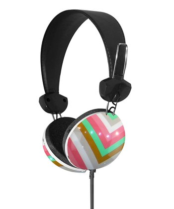 Pink & Green Geometrix Stereo Headphones