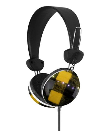 Yellow & Black Plaid Stereo Headphones