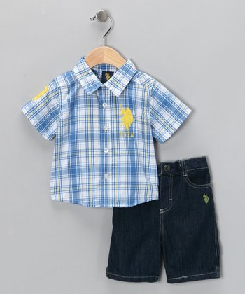 Moonlight Blue Plaid Button-Up Shirt & Shorts - Infant