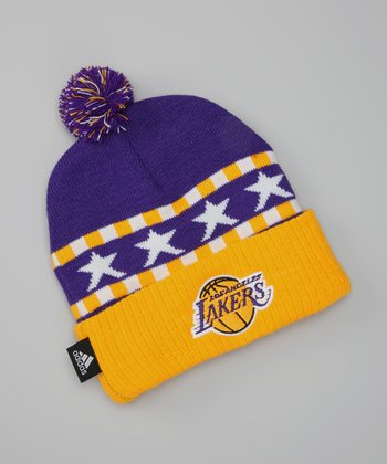 Purple & Gold 'Lakers' Knit Pom-Pom Beanie