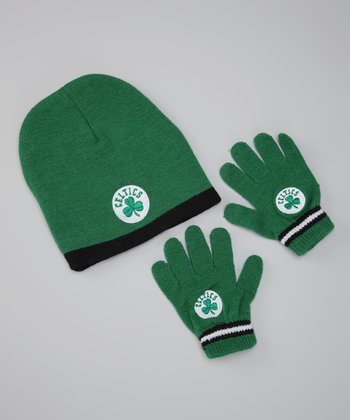 Green 'Celtics' Knit Beanie & Gloves