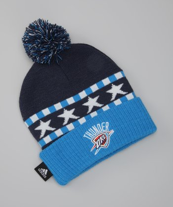 Black & Blue Thunder Knit Pom-Pom Beanie