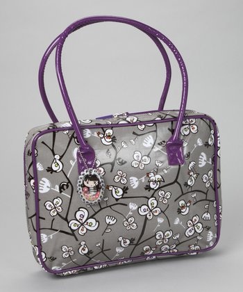Gray Flower 14'' Laptop Bag