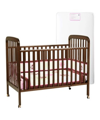 Espresso Alpha Convertible Crib & Mattress