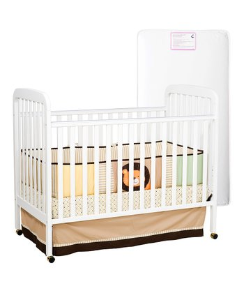 White Alpha Convertible Crib & Mattress