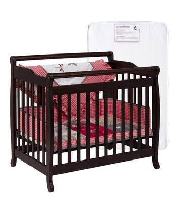 Espresso Lily Convertible Mini Crib & Mattress