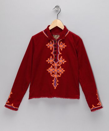 Ruby Corduroy Embroidered Jacket - Girls